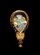 The Alfred Jewel is probably the single most famous archaeological object in England. It is comprised of a piece of cloisonne enamel depicting a human figure, though to be a representation of the sense of sight. The enamel is covered by a polished piece of rock crystal and set in a gold frame that terminates in a beast's head.