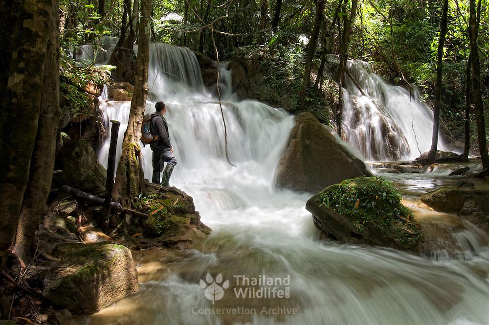 The Pha Sawan waterfall in the Khaoen Sri Nakarin National Park, Kanchanaburi, Thailand.