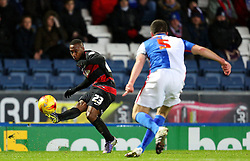 David Holiett of Queens Park Rangers crosses the ball past Grant Hanley of Blackburn Rovers for Leroy Fer's opening goal - Mandatory byline: Matt McNulty/JMP - 12/01/2016 - FOOTBALL - Ewood Park - Blackburn, England - Blackburn Rovers v QPR - SkyBet Championship