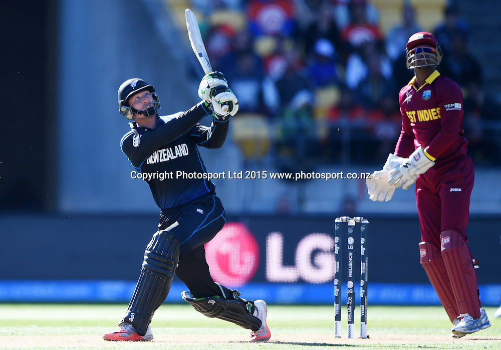 Martin Guptill batting during the ICC Cricket World Cup quarter final match between New Zealand Black Caps and the West Indies, Wellington, New Zealand. Saturday 21March 2015. Copyright Photo: Andrew Cornaga / www.Photosport.co.nz