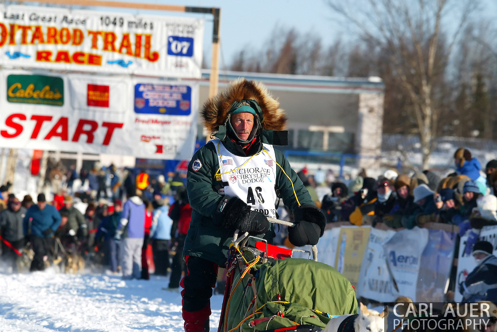 3/4/2007:  Willow, Alaska -  Veteran Jacques Philip of Nenana, AK moves out in the start of the 35th Iditarod Sled Dog Race