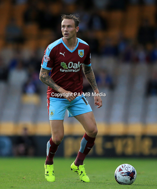 Burnley's Matthew Taylor during the Capital One Cup, First Round match at Vale Park, Stoke-on-Trent.