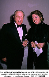 The ARGENTINE AMBASSADOR HE SENHOR ROGELIO PFIRTER and MRS JOHN GUMMER wife of the government minister, at a party in London on January 16th 1997.LUW 32