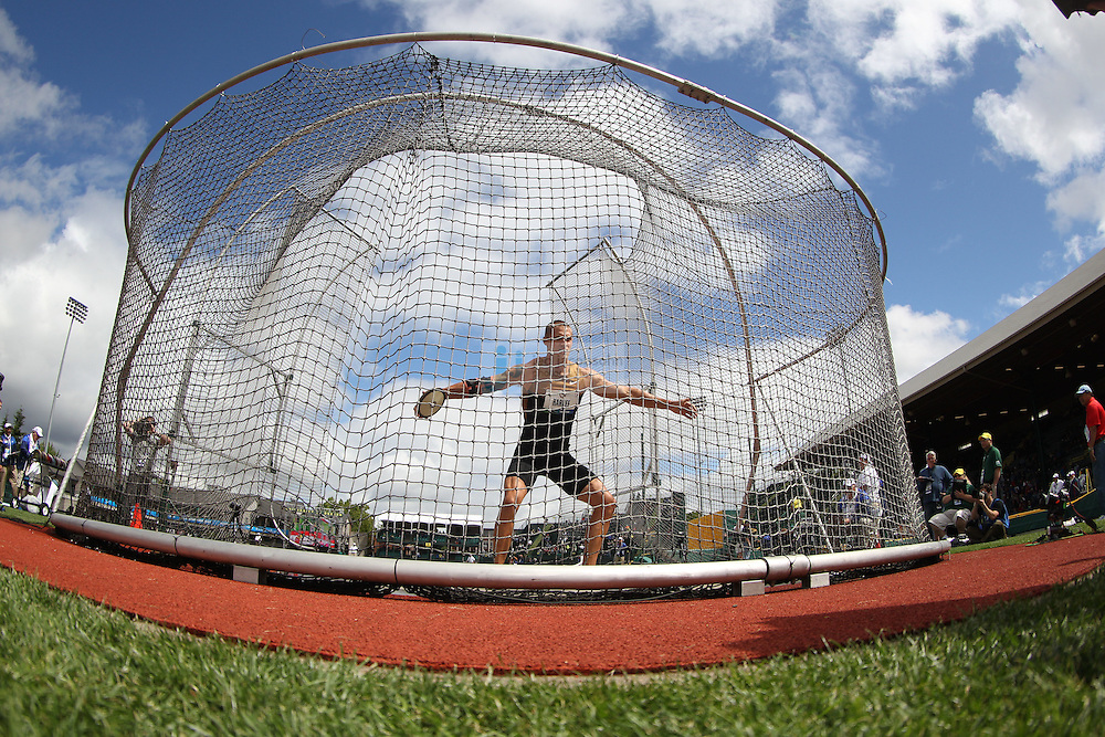 Trey Hardee competes during the discus throw for the Decathlon during day 2 of the U.S. Olympic Trials for Track & Field at Hayward Field in Eugene, Oregon, USA 23 Jun 2012..(Jed Jacobsohn/for The New York Times)....