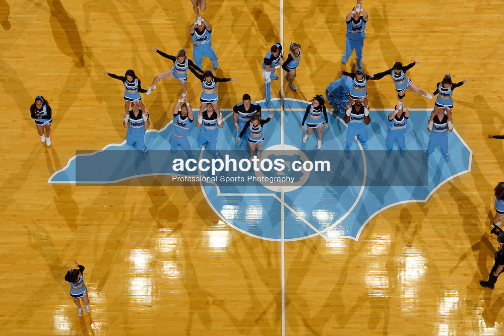 CHAPEL HILL, NC - JANUARY 26: Cheerleaders of the North Carolina Tar Heels cheer against the Virginia Tech Hokies on January 26, 2017 at the Dean Smith Center in Chapel Hill, North Carolina. North Carolina won 91-72. (Photo by Peyton Williams/UNC/Getty Images)