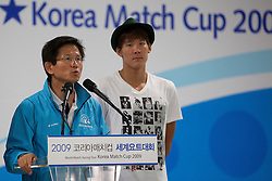 Moonsoo Kim and Taewhan Park speaking at a function for Korea Match Cup 2009, Gyeonggi-do, Korea. 2 June 2009.