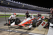 Juan Pablo Montoya (2) pits during the IndyCar Firestone 600 auto race at Texas Motor Speedway in Fort Worth, TX. Saturday, June 7, 2014