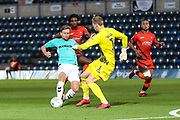 Wycombe Wanderers goalkeeper Ryan Allsop(1) just beats Forest Green Rovers Dayle Grubb(8) to the ball during the 2nd round of the Carabao EFL Cup match between Wycombe Wanderers and Forest Green Rovers at Adams Park, High Wycombe, England on 28 August 2018.