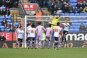 Reading Goalkeeper,  Ali Al-Habsi called into action during the Sky Bet Championship match between Bolton Wanderers and Reading at the Macron Stadium, Bolton, England on 2 April 2016. Photo by Mark Pollitt.
