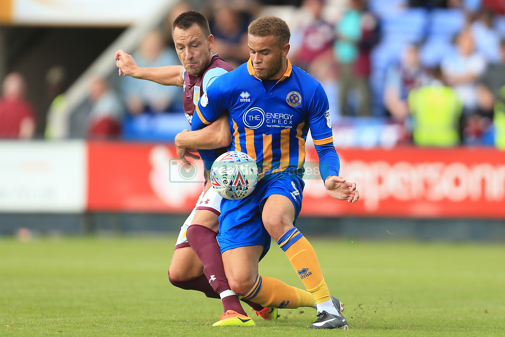 15th July 2017 - Pre-Season Friendly - Shrewsbury Town v Aston Villa - John Terry of Villa battles with Carlton Morris of Shrewsbury - Photo: Simon Stacpoole / Offside.