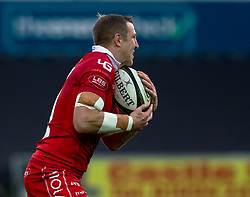 Hadleigh Parkes of Scarlets<br /> <br /> Photographer Simon King/Replay Images<br /> <br /> Guinness PRO14 Round 11 - Ospreys v Scarlets - Saturday 22nd December 2018 - Liberty Stadium - Swansea<br /> <br /> World Copyright © Replay Images . All rights reserved. info@replayimages.co.uk - http://replayimages.co.uk