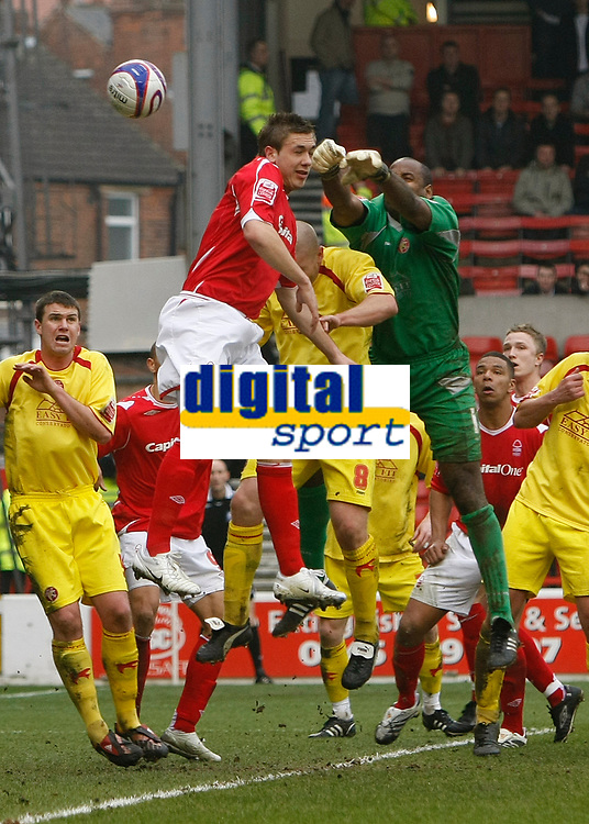 Photo: Steve Bond/Richard Lane Photography. <br />Nottingham Forest v Walsall. Coca Cola League One. 15/03/2008. Keeper Clayton Ince punches clear under pressure from Luke Chambers (C, highest)