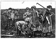 Gang System: teams of children were formed by contractor or 'ganger' and hired out to farmers as agricultural labour for tasks such as sowing and hoeing. Worked 8 or 9 hours a day and often had to walk 3 or 4 miles to and from work. Practice particularly widespread in East Anglia. From 'The Sunday at Home' London 1869.