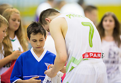 Klemen Prepelic of Slovenia with fans after the friendly basketball match between National teams of Slovenia and Ukraine at day 3 of Adecco Cup 2014, on July 26, 2014 in Rogaska Slatina, Slovenia. Photo by Vid Ponikvar / Sportida.com