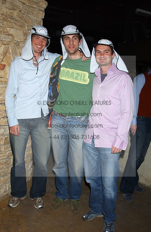 Left to right, DOM ROBERTSON, HUGH VAN CUTSEM and IAN ROBERTSON at a fundraising party ay Umbaba nightclub, London on 5th April 2005 for Hugh Van Cutsem and brothers DOM and IAN ROBERTSON who intend to compete in the Marathon de Sables - 140 mile journey across the Sahara Desert in 7 days.  Money raised will go to their chosen charities the Fara Foundation and the Ian Maclay Leukaemia Trust.<br /><br />NON EXCLUSIVE - WORLD RIGHTS