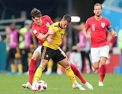 July 14, 2018 - Saint Petersburg, U.S. - ST. PETERSBURG, RUSSIA - JULY 14: Defender John Stones of England National team in action with Forward Eden Hazard of Belgium National team during the third place match between Belgium and England at the FIFA World Cup 2018 at the Saint Petersburg Stadium, Russia, Saturday, July 14, 2018. . (Photo by Anatoliy Medved/Icon Sportswire) (Credit Image: © Anatoliy Medved/Icon SMI via ZUMA Press)