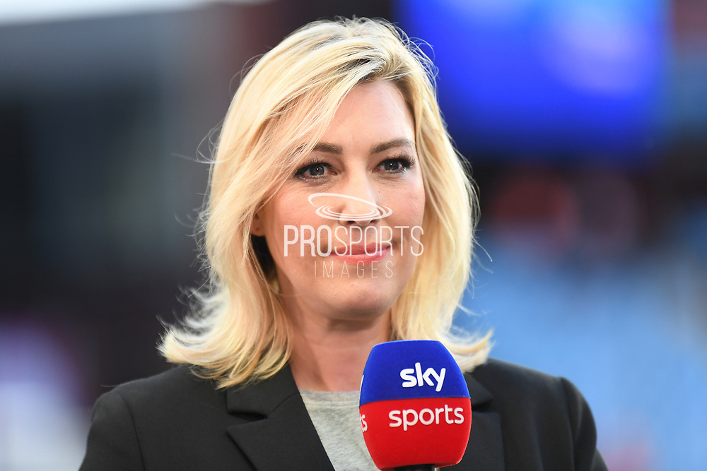 Sky sports presenter Kelly Cates during the Premier League match between Aston Villa and Everton at Villa Park, Birmingham, England on 23 August 2019.