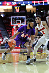 NORMAL, IL - January 05: K.J. Riley defended by Zach Copeland during a college basketball game between the ISU Redbirds and the University of Evansville Purple Aces on January 05 2019 at Redbird Arena in Normal, IL. (Photo by Alan Look)