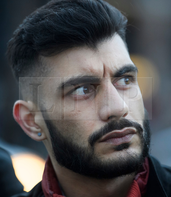 © Licensed to London News Pictures. 29/03/2018. London, UK. Whittleblower SHAHMIR SANNI attends a demonstration held by Fair Vote, outside the Houses of Parliament in London, calling for a fair vote on the EU referendum. Whistleblowers Shahmir Sanni and Christopher Wylie both spoke at the event attended by a small number of people.. Photo credit: Ben Cawthra/LNP