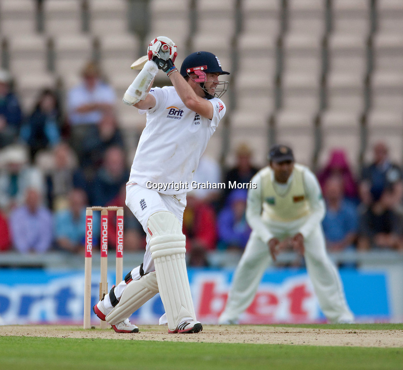 James Anderson drives for four during the third npower Test Match between England and Sri Lanka at the Rose Bowl, Southampton.  Photo: Graham Morris (Tel: +44(0)20 8969 4192 Email: sales@cricketpix.com) 19/06/11