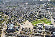 Nederland, Noord-Holland, Amsterdam, 09-04-2014; Museumplein met links Rijksmuseum. Onder in beeld Paulus Potterstaat met Van Gogh Museum en Stedelijk Museum (rechts) en de Van Baerlestraat.<br /> View on the Museumplein and surroundings, from right bottom (CW) the Stedelijk Museum, Van Goghmuseum and the rear side of the Rijksmuseum.<br /> luchtfoto (toeslag op standard tarieven);<br /> aerial photo (additional fee required);<br /> copyright foto/photo Siebe Swart
