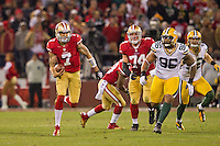12 January 2013: Quarterback (7) Colin Kaepernick of the San Francisco 49ers runs the ball against the Green Bay Packers during the first half of the 49ers 45-31 victory over the Packers in an NFL Divisional Playoff Game at Candlestick Park in San Francisco, CA.