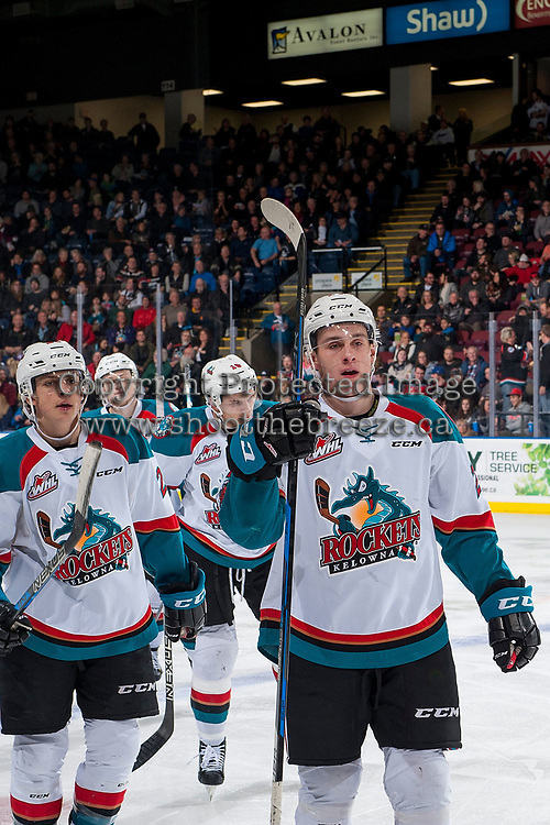 KELOWNA, CANADA - JANUARY 3: Nolan Foote #29 of the Kelowna Rockets skates to the bench to celebrate a goal against the Tri-City Americans on January 3, 2017 at Prospera Place in Kelowna, British Columbia, Canada.  (Photo by Marissa Baecker/Shoot the Breeze)  *** Local Caption ***