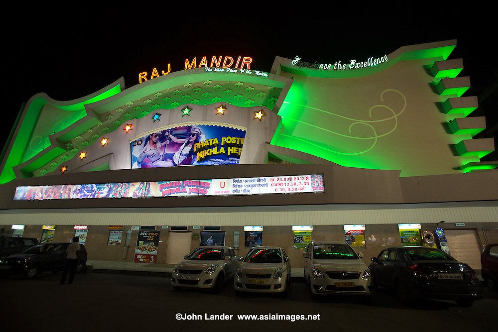 Raj Mandir Cinema is a famous movie theater in Jaipur. The cinema has shown many movie premieres of Bollywood films.  It was designed by architect W.M. Namjoshi in art moderne style.  The exterior of the building is made up of various shapes, zigzags and curves set into the facade.