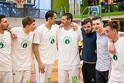 Tevz Ruzic, Stipe Modric, Goran Jagodnik at Jagodnik's end of a career after basketball match between KD Ilirija and KK Mesarija Prunk Sezana in Last Round of 2. SKL  2016/17, on April 15, 2017 in GIB center, Ljubljana, Slovenia. Photo by Vid Ponikvar / Sportida