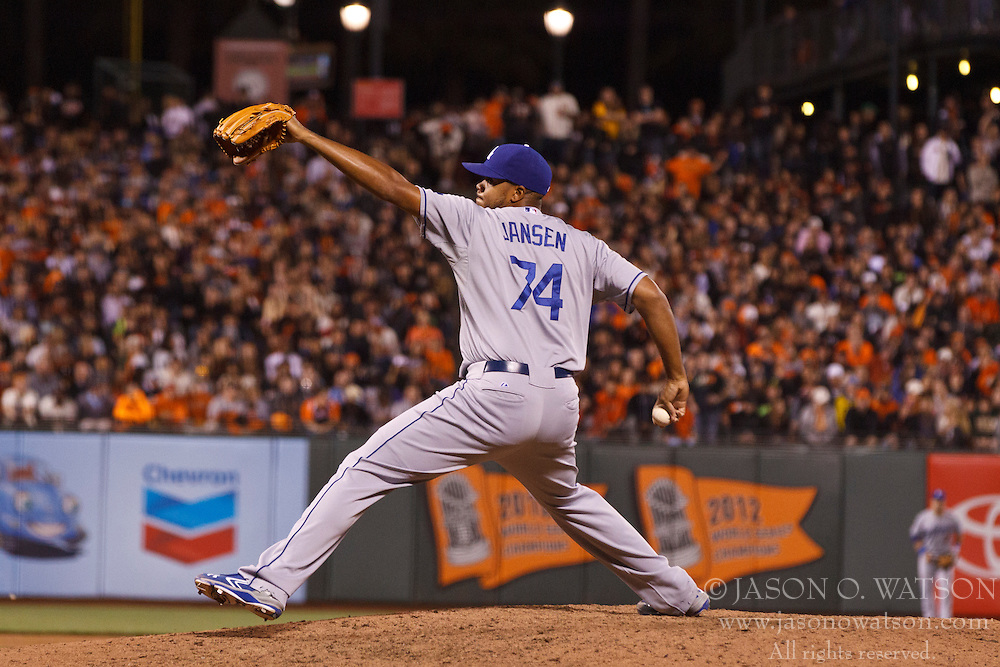 SAN FRANCISCO, CA - MAY 03: Kenley Jansen #74 of the Los Angeles Dodgers pitches against the San Francisco Giants during the eighth inning at AT&T Park on May 3, 2013 in San Francisco, California. The San Francisco Giants defeated the Los Angeles Dodgers 2-1. (Photo by Jason O. Watson/Getty Images) *** Local Caption *** Kenley Jansen