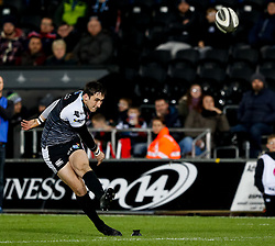 Sam Davies of Ospreys converts<br /> <br /> 2nd November, Liberty Stadium , Swansea, Wales ; Guinness pro 14's Ospreys Rugby v Glasgow Warriors ;  <br /> <br /> Credit: Simon King/News Images<br /> <br /> Photographer Simon King/Replay Images<br /> <br /> Guinness PRO14 Round 8 - Ospreys v Glasgow Warriors - Friday 2nd November 2018 - Liberty Stadium - Swansea<br /> <br /> World Copyright © Replay Images . All rights reserved. info@replayimages.co.uk - http://replayimages.co.uk