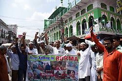 September 8, 2017 - Allahabad, Uttar Pradesh, India - Allahabad: All India Majlis-e-Ittehadul Muslimeen (AIMIM) supporters protest over the persecution of Myanmar's Rohingya Muslim community in Allahabad, India on September 8, 2017. The U.N. refugee agency has said that 270,000 Rohingya refugees have fled Myanmar into Bangladesh. (Credit Image: © Prabhat Kumar Verma via ZUMA Wire)