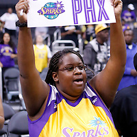 24 August 2014: A Sparks fan hold a sign during the Phoenix Mercury 93-68 victory over the Los Angeles Sparks, in a Conference Semi-Finals at the Staples Center, Los Angeles, California, USA.
