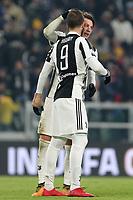 20.12.2017 - Torino - Tim Cup - Coppa Italia   -  Juventus-Genoa nella  foto: Federico Bernardeschi abbraccia Higuain dopo il gol