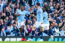 Raheem Sterling of Manchester City celebrates scoring a goal to make it 1-0 - Mandatory by-line: Robbie Stephenson/JMP - 17/04/2019 - FOOTBALL - Etihad Stadium - Manchester, England - Manchester City v Tottenham Hotspur - UEFA Champions League Quarter Final 2nd Leg