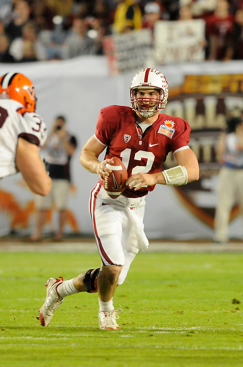 January 3, 2011: Andrew Luck of the Stanford Cardinal in action during the NCAA football game between the Stanford Cardinal and the Virginia Tech Hokies at the 2011 Orange Bowl in Miami Gardens, Florida. Stanford defeated Virginia Tech 40-12.