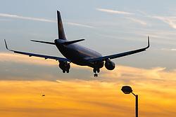 London Heathrow, September 19th 2015. A Lufthansa Airbus A320 crosses the threshold of London Heathrow's runway 27R.