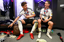 Free to use courtesy of Sky Bet. Goalscorer Tom Cairney and Stefan Johansen share a joke as Fulham celebrate in the dressing room after winning the game 0-1 to win the Sky Bet Championship Play-Off Final and secure Promotion to the Premier League - Rogan/JMP - 26/05/2018 - FOOTBALL - Wembley Stadium - London, England - Aston Villa v Fulham - Sky Bet Championship Play-Off Final.