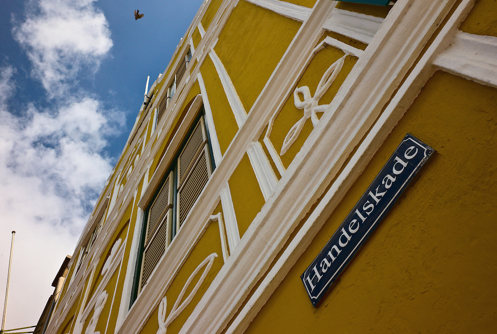 Facade of building on Handelskade, Willemstad, Curacao