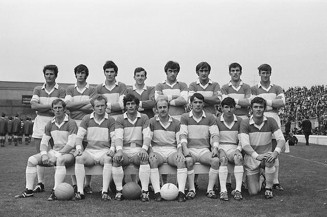 22.08.1971 Football All Ireland Semi Final Cork Vs Offaly..Offaly.1-16.Cork.1-11..Offaly Senior Team.M. Furlong, M. Ryan, P. McCormack, M. O'Rourke, E. Mulligan, N. Clavin, M. Heavey, W. Bryan (Captain), K. Claffey, J. Cooney, K. Kilmurray, A. McTague, J. Gunning, S. Evans, Murt Connor..Subs: J. Smith for N. Clavin; P. Fenning for J. Gunning.W. Bryan (Captain).
