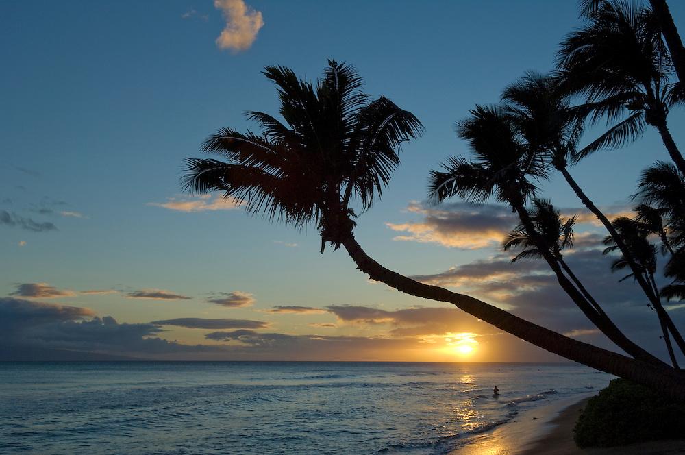 Man in surf at sunset on Kaanapali Beach at Hyatt Regency Resort, Maui, Hawaii.