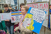 Final Year medical student Holly Carpenter with pop art protest - The picket line at St Thomas' Hospital. Junior Doctors stage another 48 hours of strike action against the new contracts due to be imposed by the Governemnt and health minister Jeremy Hunt.