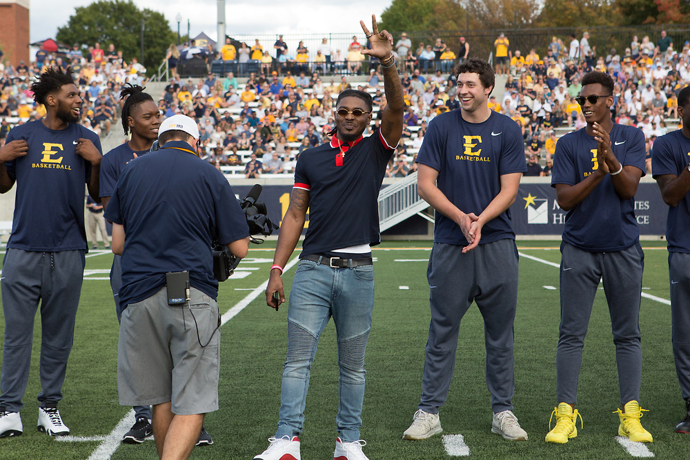 October 7, 2017 - Johnson City, Tennessee - William B. Greene Jr. Stadium: Men's Basketball recognized for conference championship win and NCAA tournament berth.<br /> <br /> Image Credit: Dakota Hamilton/ETSU