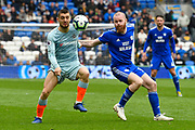 Mateo Kovacic (17) of Chelsea battles for possession with Aron Gunnarsson (17) of Cardiff City during the Premier League match between Cardiff City and Chelsea at the Cardiff City Stadium, Cardiff, Wales on 31 March 2019.