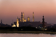 Egypt. Cairo - the minarets of the  mosques Sultan Hassan , AL Rifai and Hayer Bek view from. Al Azhar Park in the old islamic city. a project of the Aga Khan foundation.  Cairo +