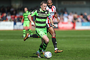 Forest Green Rovers Lee Collins(5) runs forward during the EFL Sky Bet League 2 match between Cheltenham Town and Forest Green Rovers at LCI Rail Stadium, Cheltenham, England on 14 April 2018. Picture by Shane Healey.