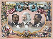 Heroes of the Colured Race': portraits of Blanche Kelso Bruce, Frederick Douglass, and Hirah Rhoades Revels, surrounded by vignettes of African American life and American politicians.  Chromolithograph c1883.