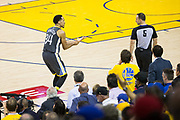 Golden State Warriors guard Shaun Livingston (34) reacts to a foul called on him during Game 4 of the Western Conference Finals against the Houston Rockets at Oracle Arena in Oakland, Calif., on May 22, 2018. (Stan Olszewski/Special to S.F. Examiner)