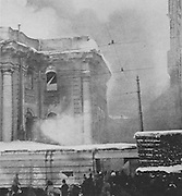 Fire at the courthouse in Petrograd, later St Petersburg, 11th or 12th March 1917, during the Russian Revolution, photograph by P Wolkof of Vetchernee Vremia, published in L'Illustration no.3868, 21st April 1917. Picture by Manuel Cohen
