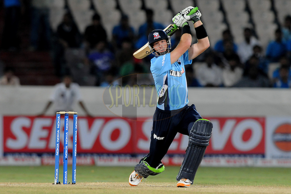 Martin Guptill of Auckland Aces bats  during the CLT20 - Q4 match between Somerest and Auckland Aces held at the Rajiv Gandhi International Stadium, Hyderabad on the 20th September 2011..Photo by Pal Pillai/BCCI/SPORTZPICS